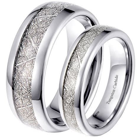 His and Hers Matching Tungsten Meteorite Wedding Couple