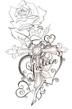 Cross With Heart And Rose Tattoos Design