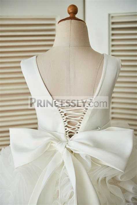 Lace up V back Ivory Satin Organza Rosette Ball Gown