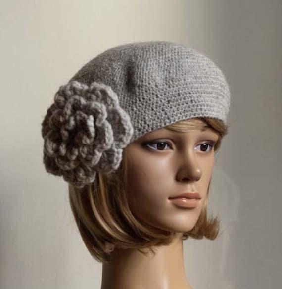 PDF CROCHET PATTERN Bewitching Beatrice Beret grey crochet flower hat cap beanie tutorial
