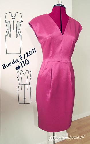 marchewkowa, blog, szycie, krawiectwo, szafiarka, sukienka, burda 7/2011, model, dress 110, satyno-tafta, malinowy materiał, kimonowe rękawiki, kliny, kieszenie