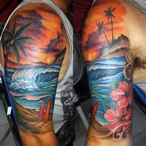 beach tattoos  men serene sandy shore designs