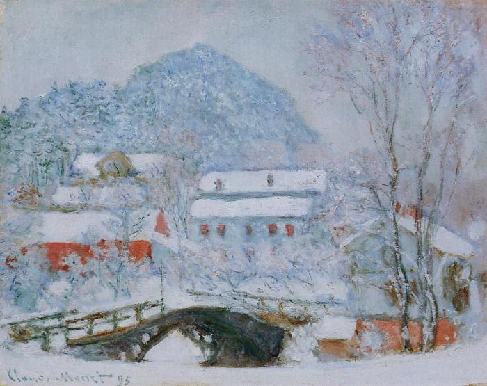 Деревня Сандвикен в снегу.  Клод Моне, 1895 г. | Фото: fiveminutehistory.com.