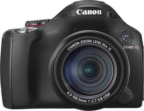 Canon - PowerShot SX40 HS Black 12.1-Megapixel Digital Camera - Black - Larger Front