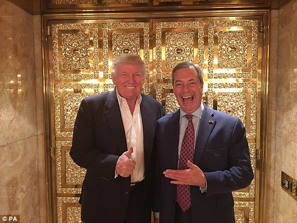 In November, Mr Farage embarrassed Mrs May after being pictured laughing and smiling in a gold-plated lift with Mr Trump at his New York skyscraper