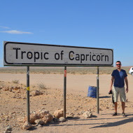 Mark at the Tropic of Capircorn in Namibia