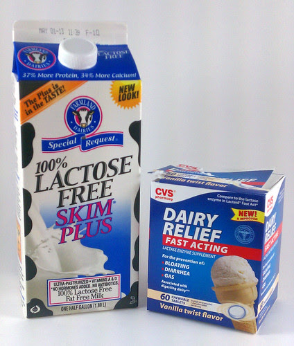 Lactose-free skim milk and lactase tablets