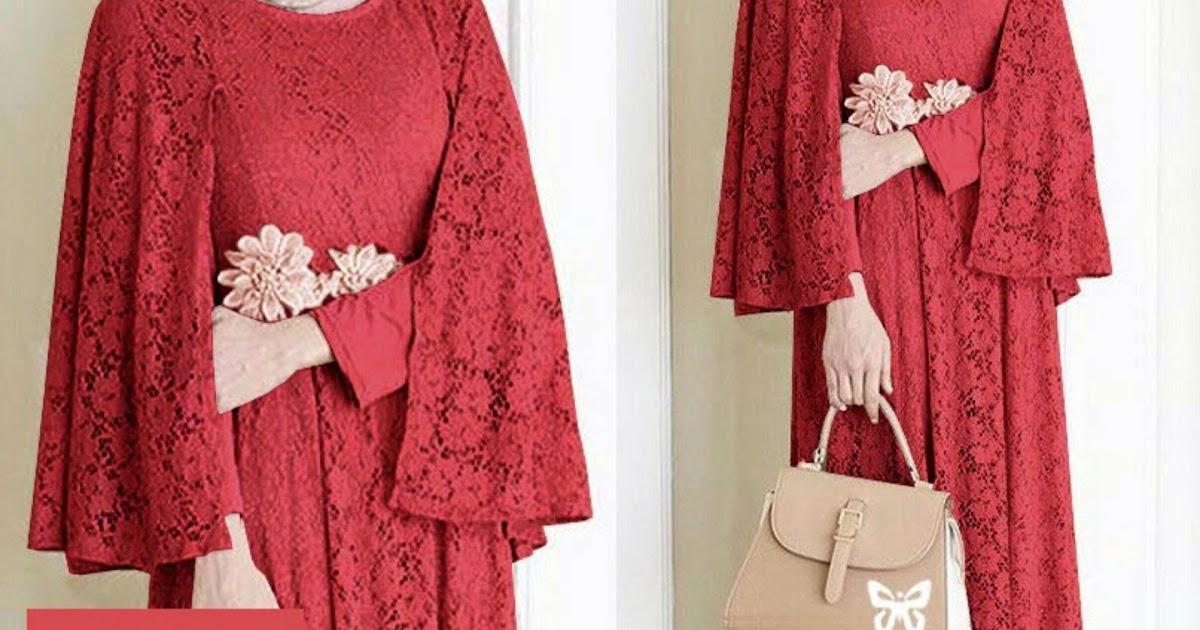 PENAWARAN Flavia Store Maxi Dress Lengan Panjang FS0641 - MAROON / Gamis / Gaun Pesta Muslimah