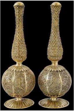 18th century pair rosewater sprinklers