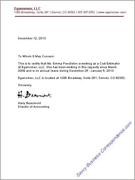 Job Employment Verification Letter