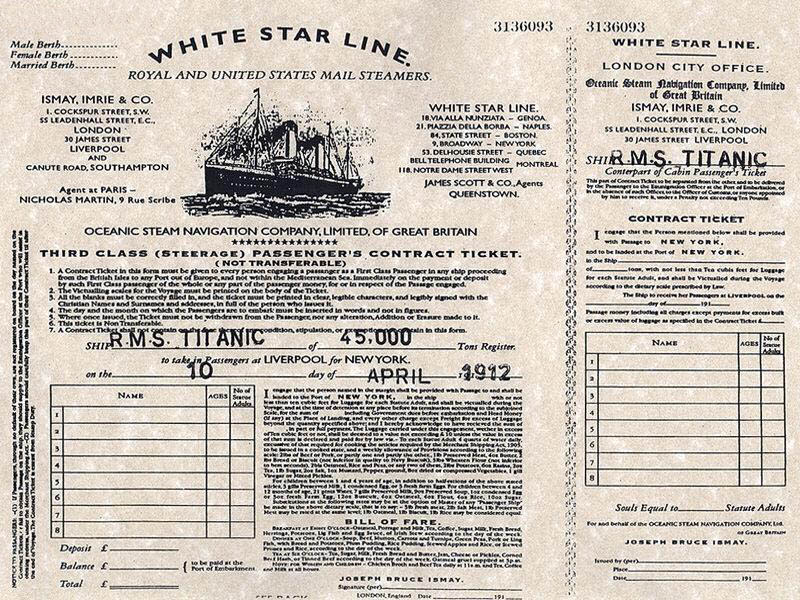 The real boarding pass for RMS Titanic