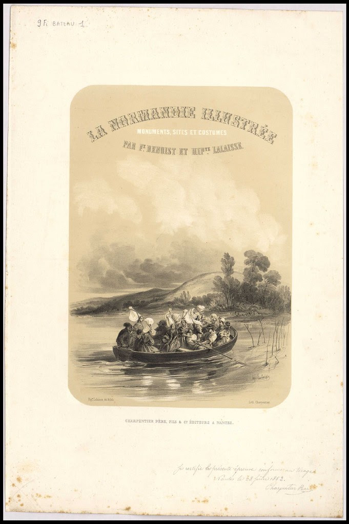 [Normandes dans une barque. Page de titre de La Normandie illustrée.] scènes [Autres lieux hors département] Normandie