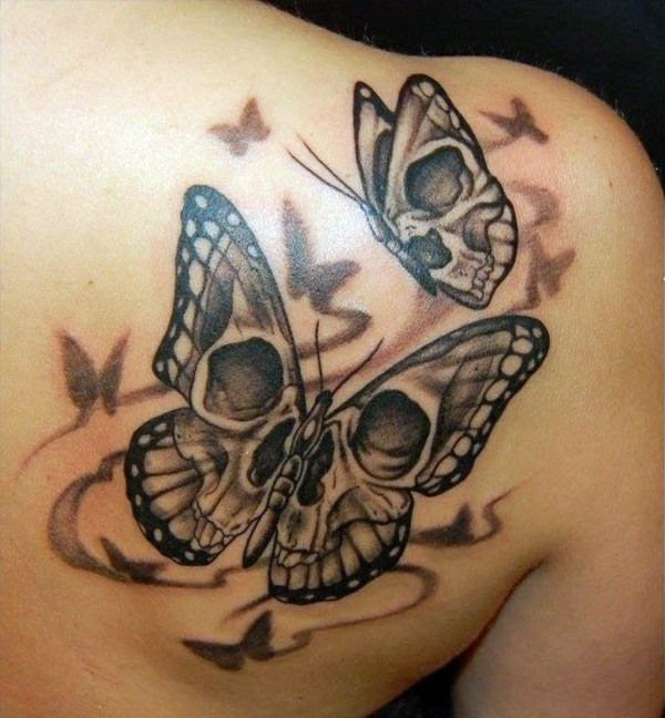Skull Butterflies Tattoo On Right Back Shoulder