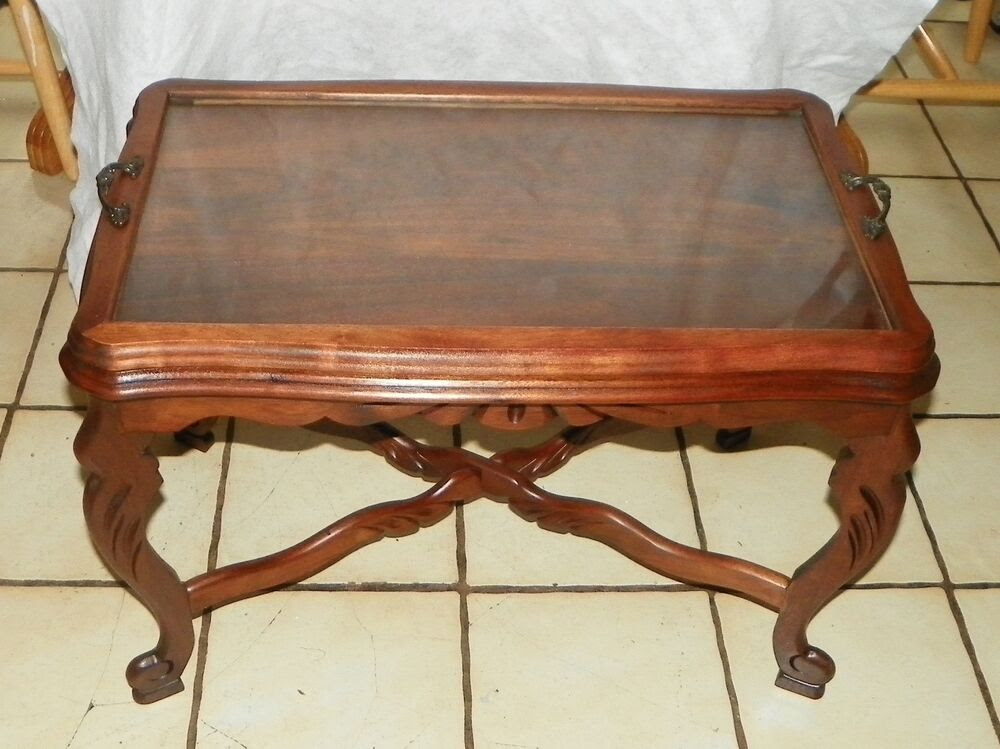 Solid Walnut Carved Coffee Table with Serving Tray (JLC ...