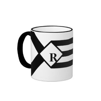 Black Stripes and Chevrons with Monogram on White Ringer Coffee Mug