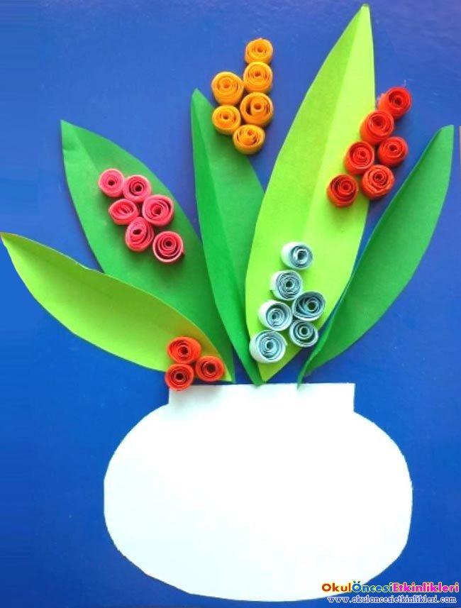 Sarma Saksıda çiçek Yapalım Okul öncesi Etkinlikleri