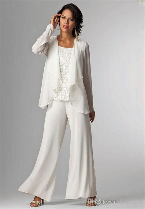 ivory white chiffon lady mother pants suits mother