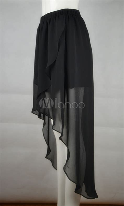 Unique Black Polyester Chiffon Long in Back Short in Front