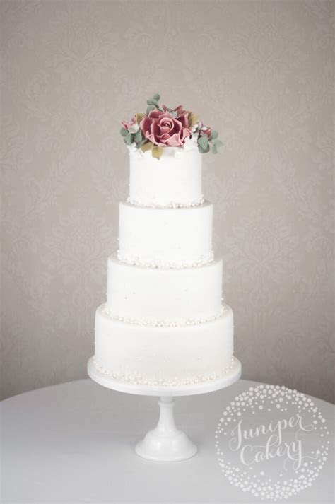 Pearl Studded Wedding Cake with Dusky Pink Roses!
