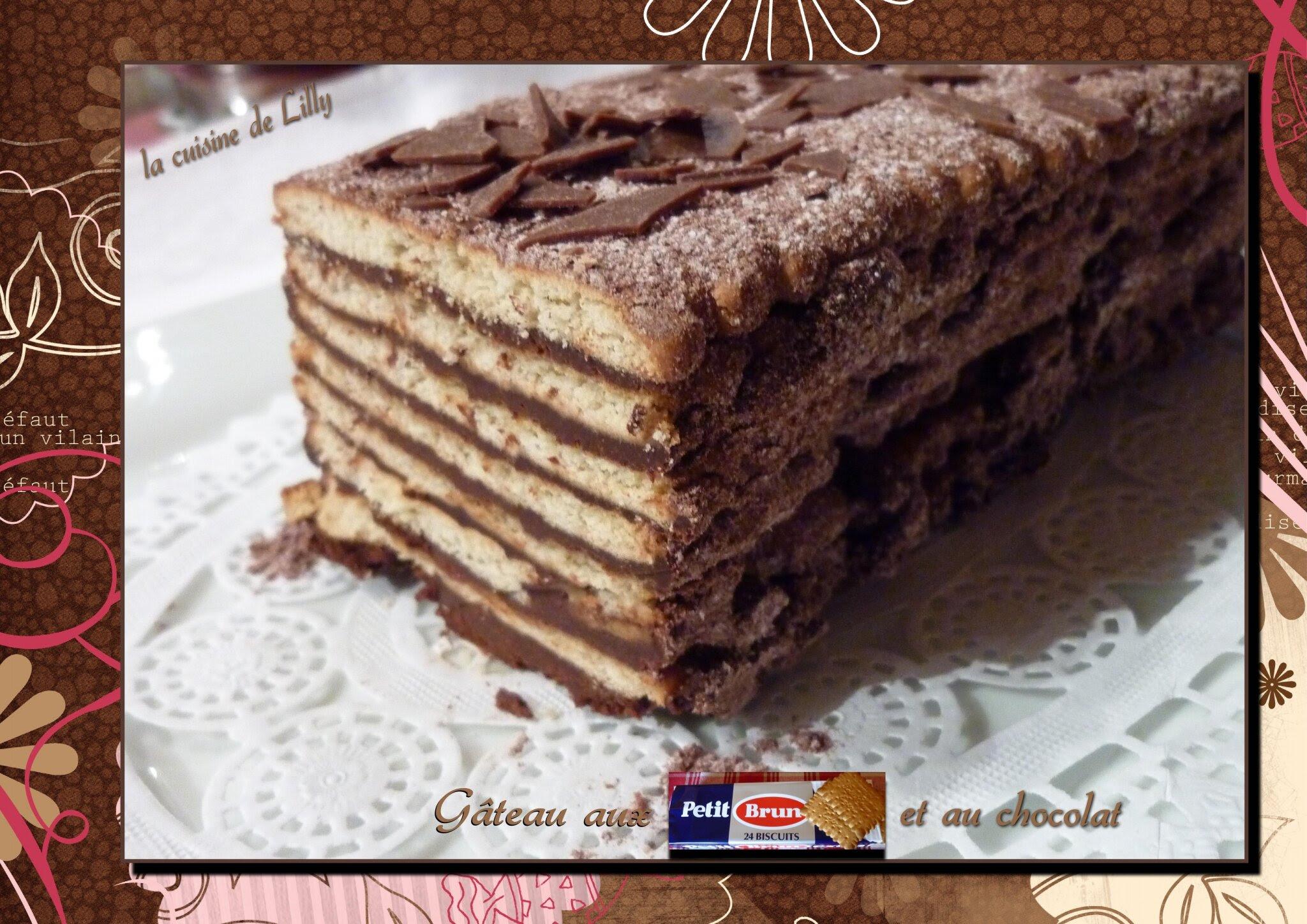 Gâteau aux Petit Brun et au chocolat - La cuisine de Lilly