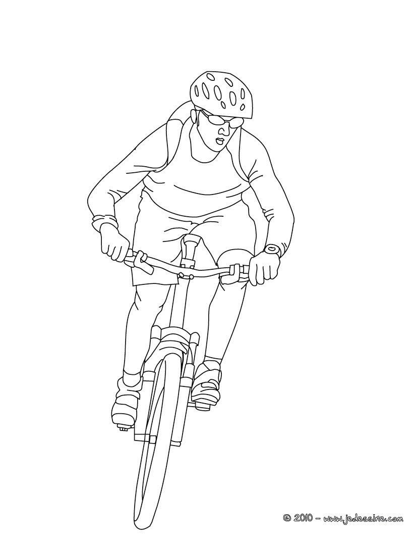 Coloriage cycliste sur VTT  imprimer