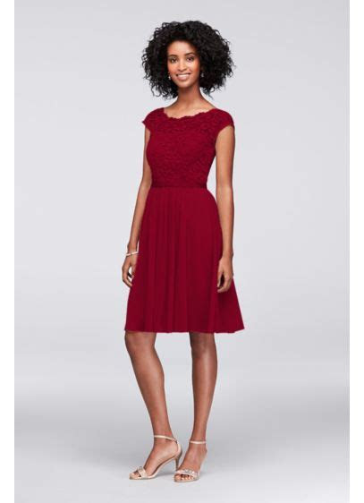 Short Lace and Mesh Dress with Illusion Neckline   David's