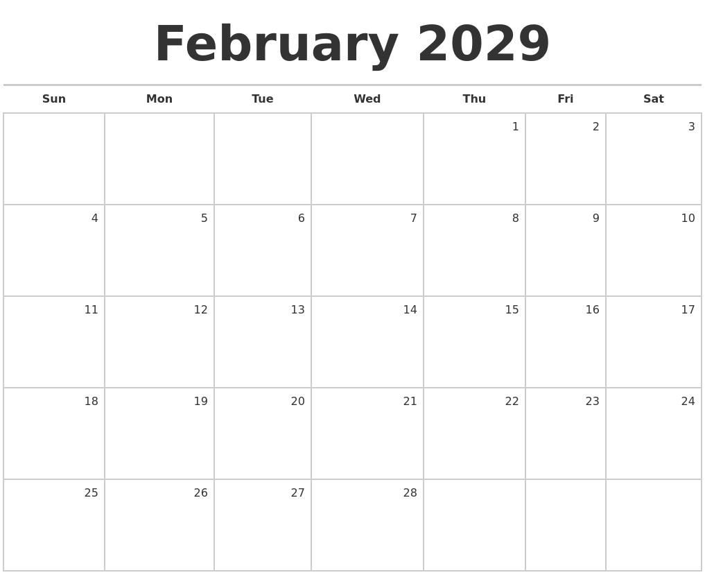 february 2029 blank monthly calendar