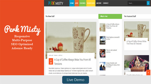 Perk Misty Blogger Template