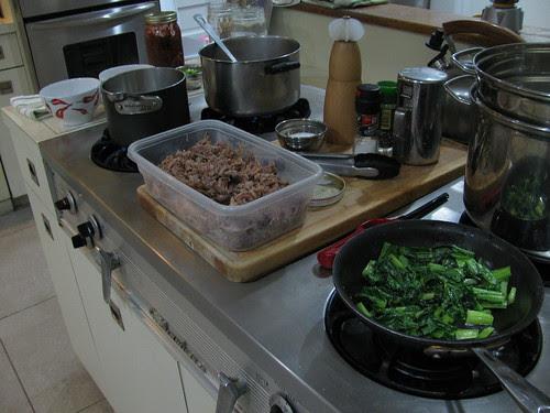 kimchi ramen mise en place