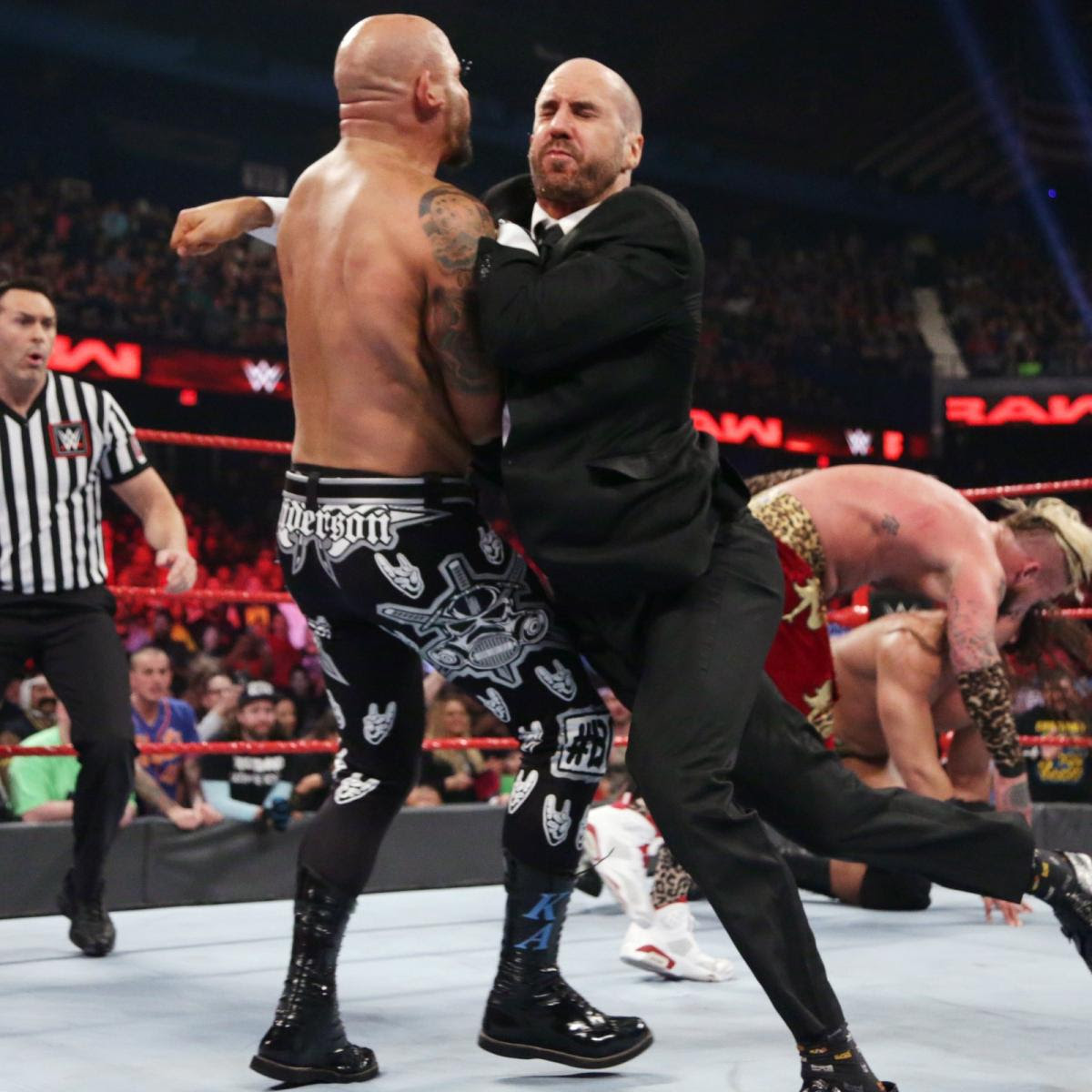 The match ends in disqualification after Cesaro gets involved.