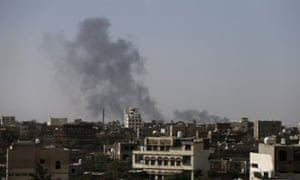 Smoke billows from Sana'a international airport after it was hit by air strikes. Saudi-led air strikes against the Iran-allied Houthi militia continue.
