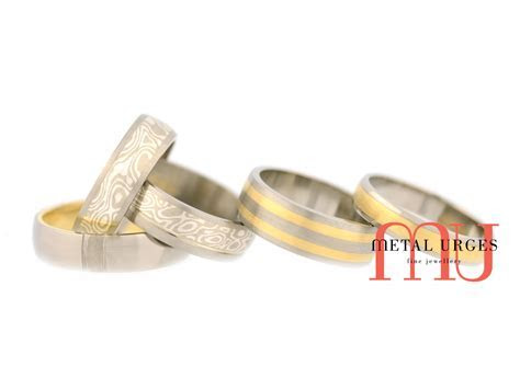 Mokume gane, 18ct yellow gold and titanium wedding rings