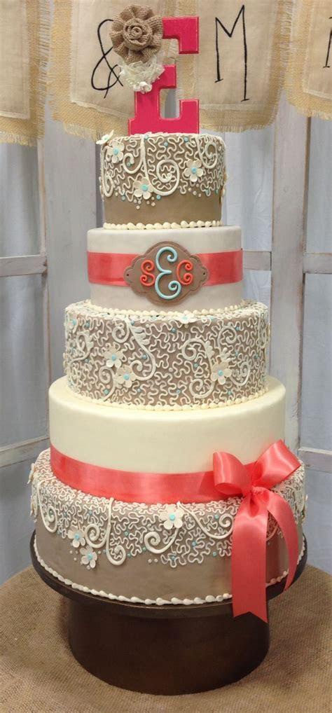 coral, sunflower and burlap wedding cakes   Wedding Cake
