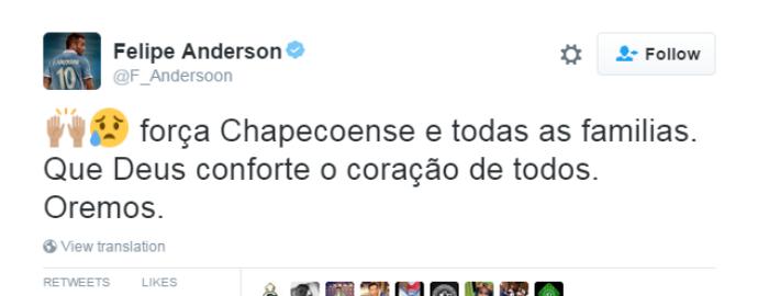felipe anderson lamenta acidente da chapecoense (Foto: Reprodução Twitter)