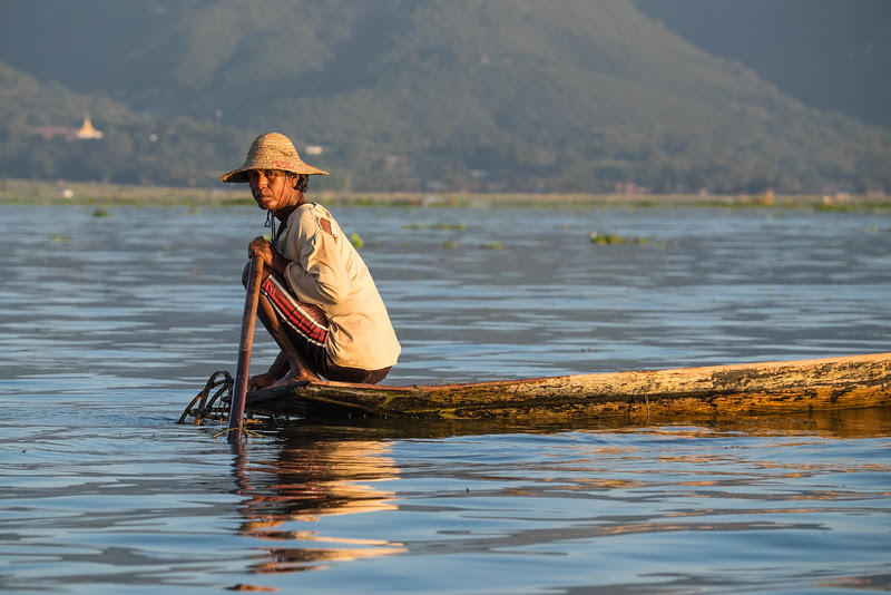 Inle Lake fisherman at work at sunset