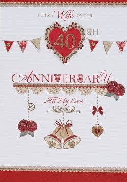 Wife Ruby Wedding Anniversary Card ? Crediton Card Centre