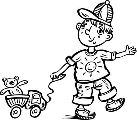 Dibujo De Nino Jugando Con Su Camion De Juguete Para Colorear