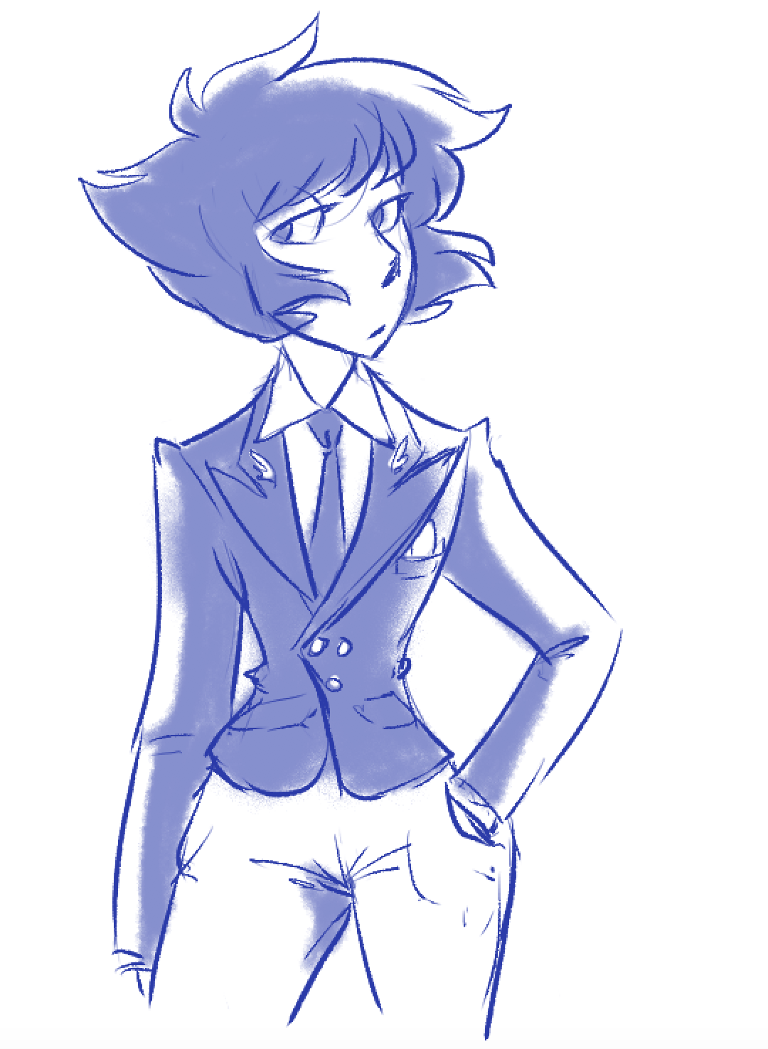 Anonymous said: Could you draw Lapis in a suit? Answer: very yes