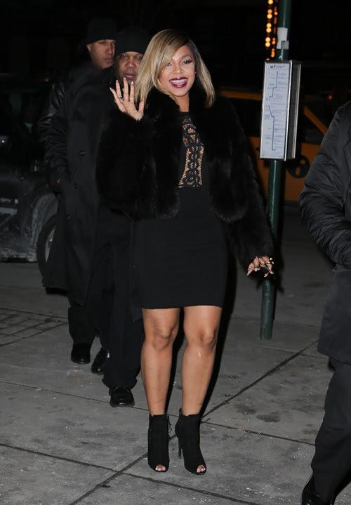 Ashanti's New York City Fendi Black Fur Coat and Supertrash Darris Lace Dress'00-]