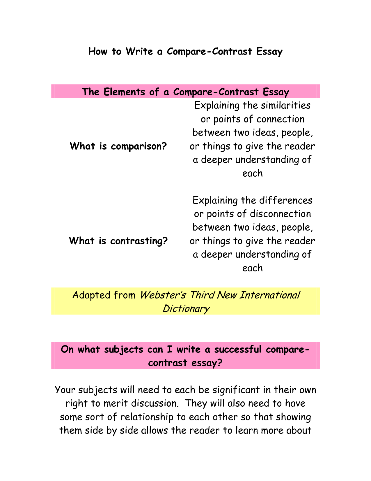 how to write compare and contrast essay job