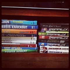 My DVD workout collection. Need to start rotating these workout. So far I only did Jillian's