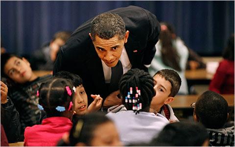President Obama visits a Washington-area school.