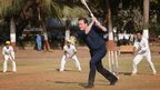 The PM plays cricket in Mumbai