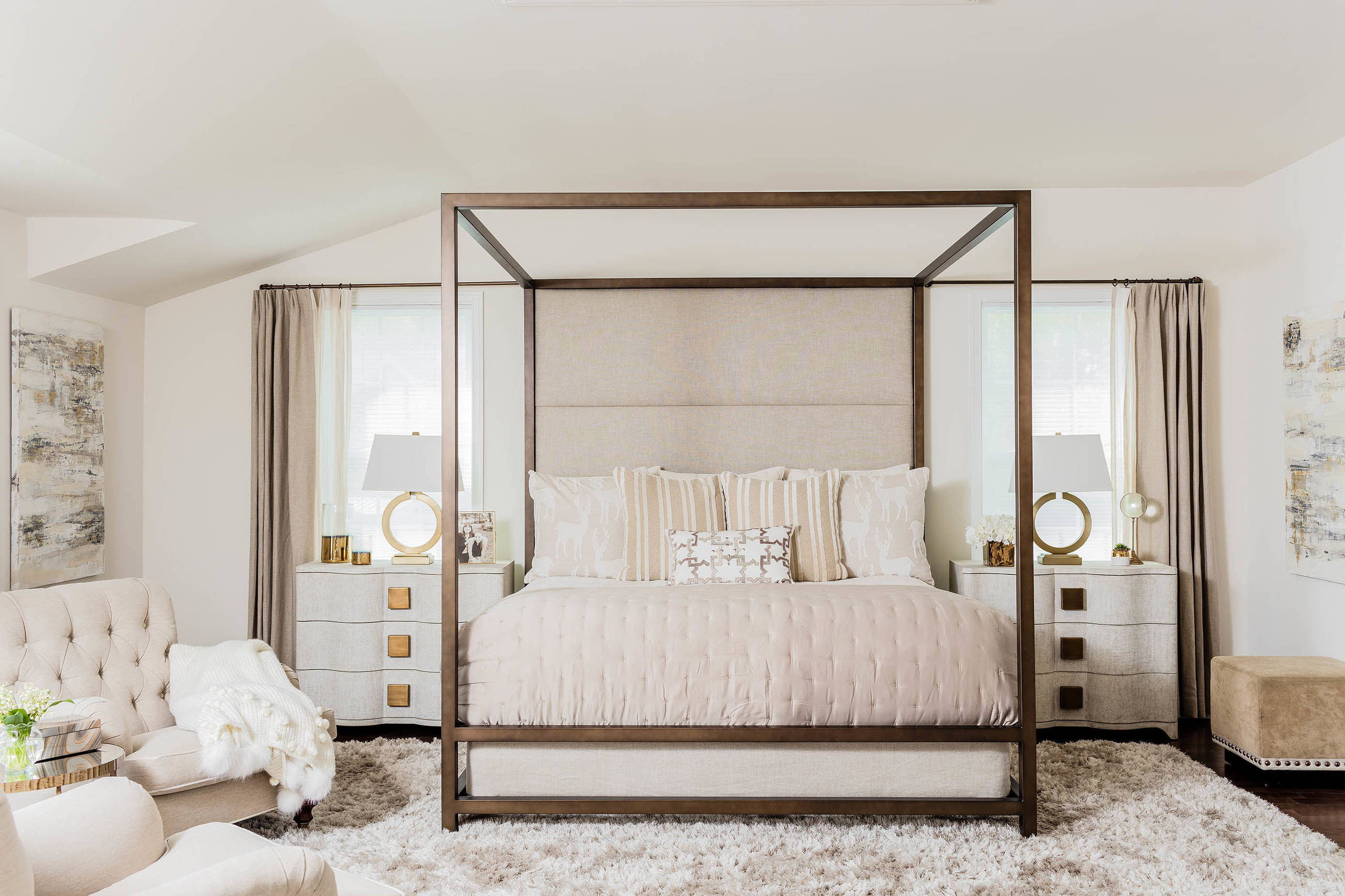 Transitional Bedroom Four Poster Bed Copper Off White Warm Cream