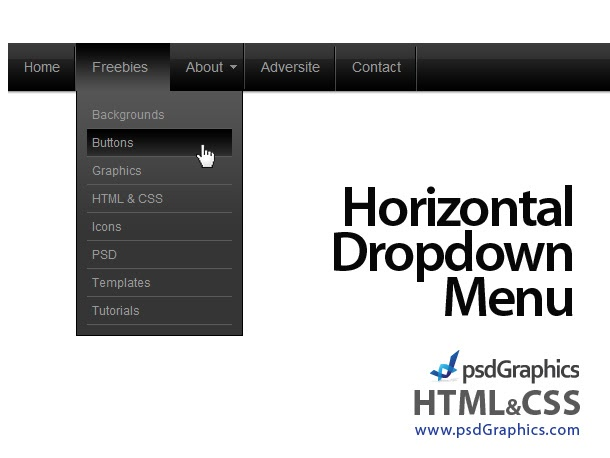 Ernestblog black horizontal html and css dropdown menu for Horizontal menu templates free download