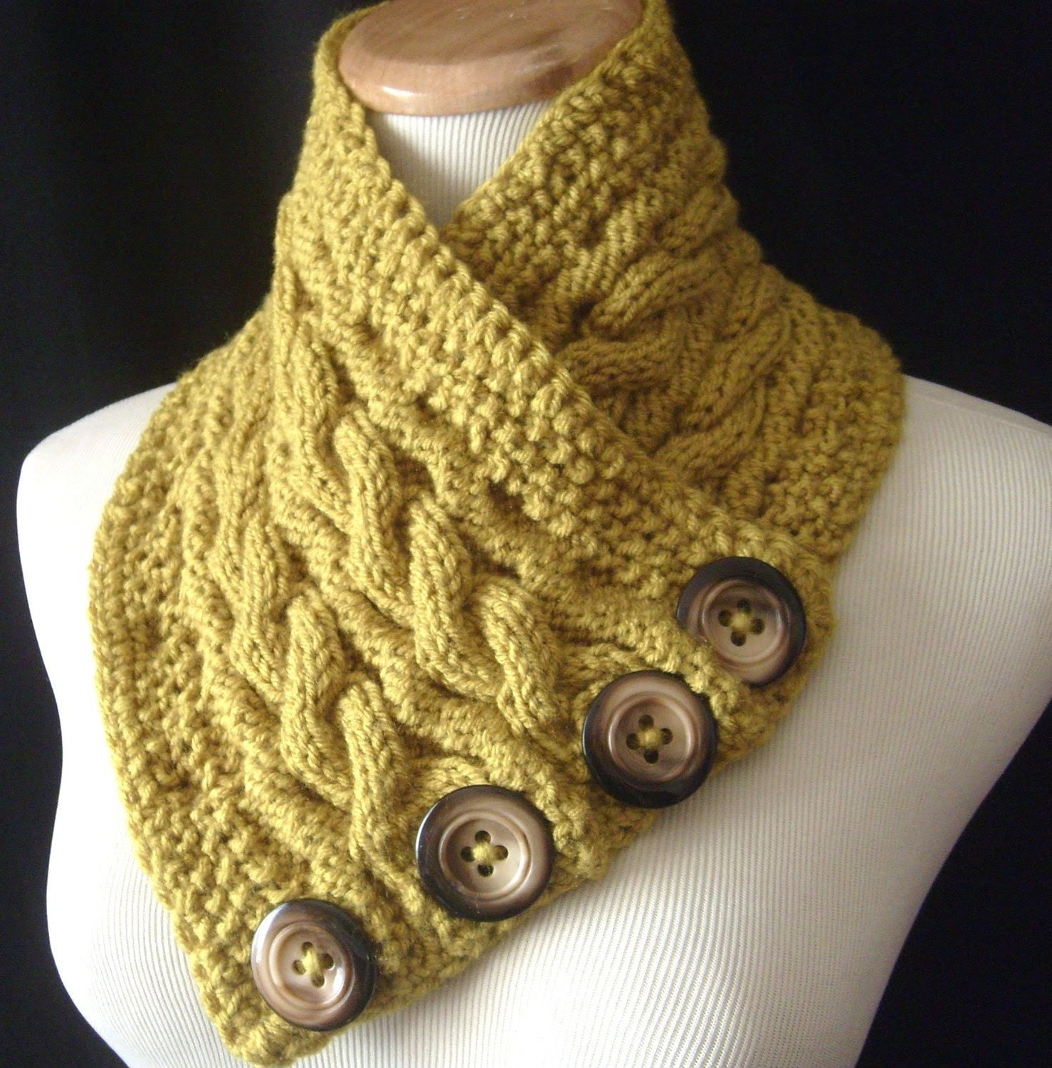 The REVERSIBLE Cabled Neckwarmer / In LEMONGRASS Green / UNISEX