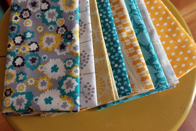 turquoise and yellow custom bundle -- fresh squeezed fabrics