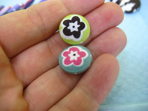 fabric button earrings chocolate lollipop