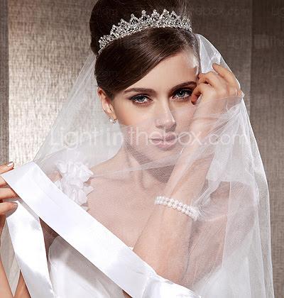 monista dedo véus de casamento com fita de borda