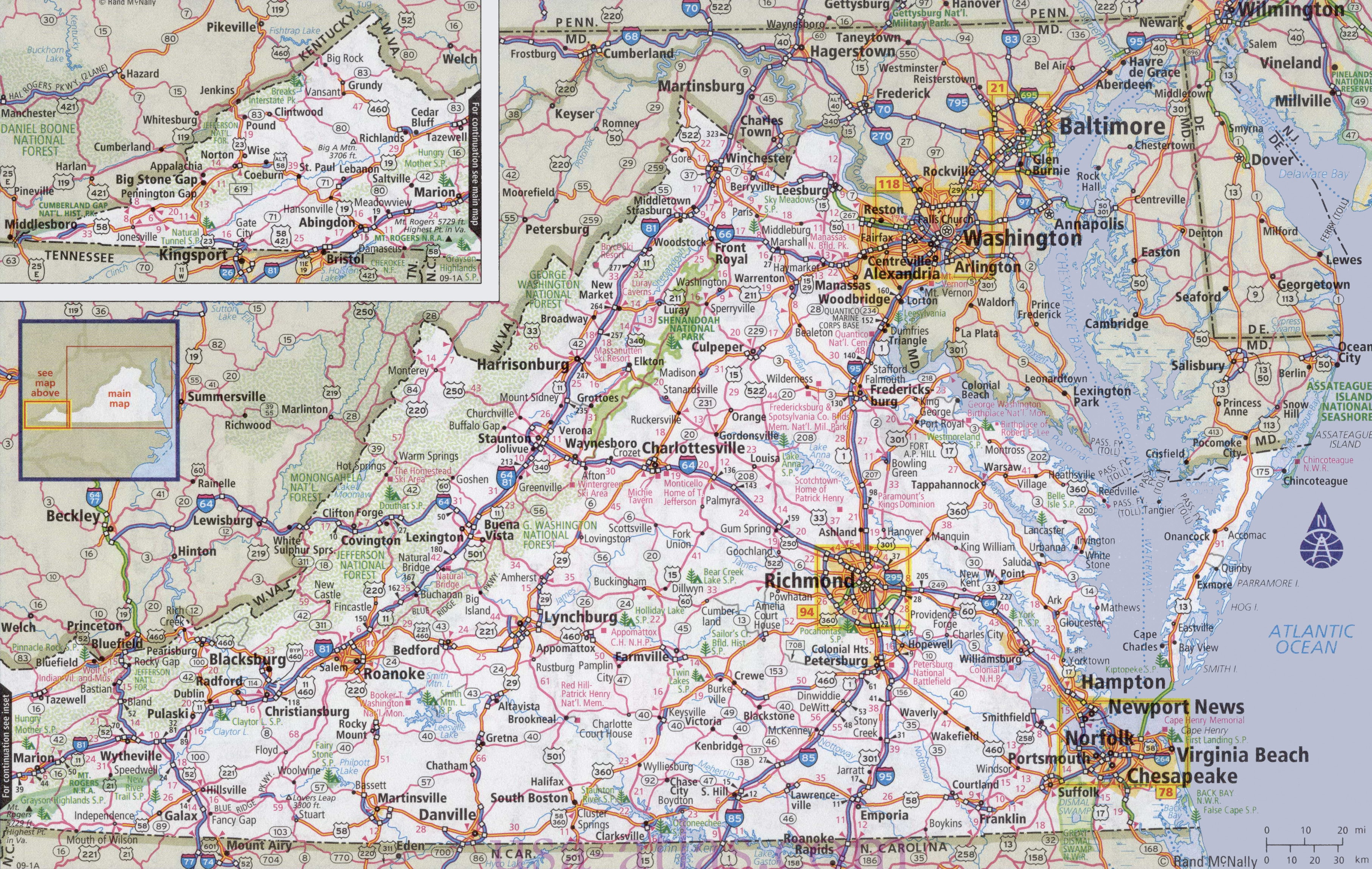 Virginia Road Map